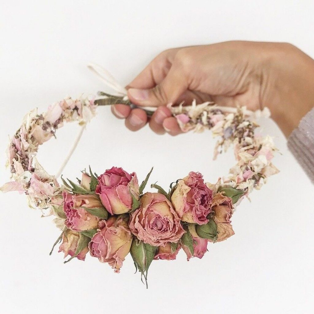 Dried Flowers in Hair Wedding Communion
